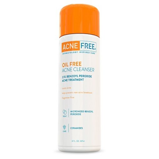 ACNEFREE OIL FREE ACNE CLEANSER WITH 2.5% BENZOYL PEROXIDE ACNE TREATMENT 8 FL OZ.